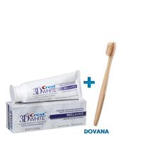 Crest dantų balinimo pasta 3D BRILLIANCE 116g. + Bambukinis dantų šepetėlis su gelsvais šereliais (Rinkinys)