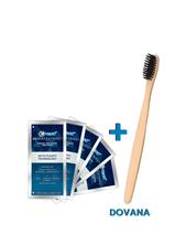 Crest dantų balinimo juostelės 3D White FlexFit 5 vnt. + Bambukinis dantų šepetėlis su anglies šereliais  (Rinkinys)